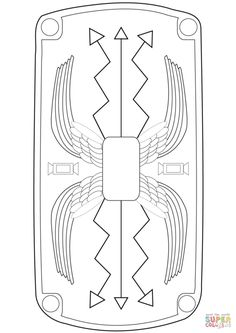 Roman Shield coloring page from Ancient Rome and Roman Empire category. Select from 27298 printable crafts of cartoons, nature, animals, Bible and many more. Ancient Rome, Ancient History, Rome Activities, History Activities, Romans For Kids, Roman Drawings, Shield Drawing, Shield Template, Roman Shield