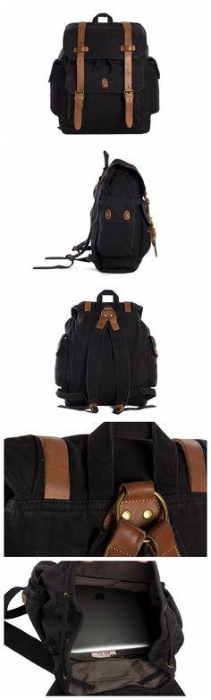 Men's Canvas Leather Hiking Travel Backpack Rucksack School