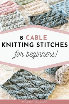 Cable knitting patterns - Knit up some cable swatches and develop your knitting skills. Choose from basic designs to more complicated cable stitch patterns. Beginner Knitting Patterns, Knitting Stiches, Knitting For Beginners, Easy Knitting, Loom Knitting, Knitting Projects, Crochet Stitches, Knitting Tutorials, Knitting Stitch Patterns
