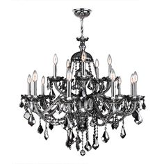 19th c rococo iron crystal chandelier large smoke not normally venetian italian style 15 light chrome finish and smoke grey crystal chandelier two 2 tier large 35 x 31 15 lights chandelier mozeypictures Choice Image