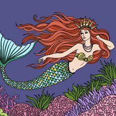 Adult Coloring, Coloring Books, Mermaid Coloring Book, Mermaid Pictures, Happy Colors, Pretty Art, Fantasy Creatures, Mermaids, Illustrations