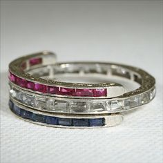 Vintage Silver Art Deco Sapphire and Ruby Flip Eternity Band c.1930