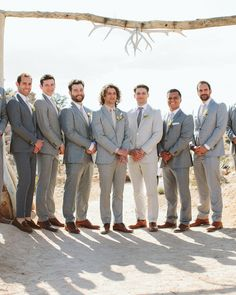 Basil's groomsmen—his two brothers, high school friends, and Ashley's sister's fiancé—looked sharp in light gray suits, neutral shirts and ties, and brown shoes. Brown Groomsmen, Groomsmen Shoes, Gray Groomsmen Suits, Grey Tux Wedding, Wedding Suits, Boho Wedding, Wedding Ideas, Wedding Colors, Wedding Flowers