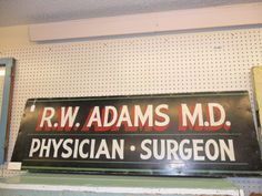 Cool Double Sided Wood R.W. Adams M.D. sign available at Old River Valley Antique Mall in Rochester MN