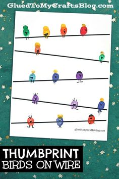 Thumbprint Birds on a Wire - Kid Craft w/free printable Craft Activities For Kids, Preschool Activities, Bird Crafts Preschool, Toddler Crafts, Summer Activities, Kid Crafts, Family Activities, Birds For Kids, Art For Kids