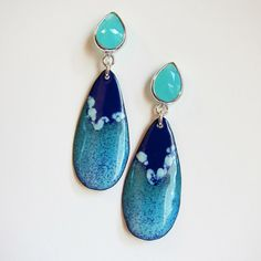 Blue Green Teardrop Post Earrings, Bohemian Jewelry, Enamel Jewelry, Turquoise Seafoam Mint Navy Art Deco