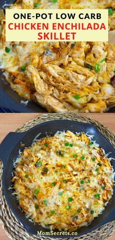 This cheesy, creamy, zesty One Pot Chicken Enchilada Skillet is a family-friendly low carb dinner recipe that is ready in about 30 minutes. Healthy Low Carb Dinners, Low Carb Dinner Recipes, Easy Meals, Healthy Recipes, Keto Recipes, Low Carb Quick Dinner, Low Carb Food, Soup Recipes, Best Healthy Dinner Recipes