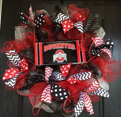Items similar to Ohio State Buckeyes inspired deco mesh wreath, Ohio State mesh wreath, front door wreath, sports wreath, Ohio Buckeyes wreath on Etsy Ohio State Wreath, Ohio State Crafts, Ohio State Buckeyes, Oklahoma Sooners, Wreaths For Front Door, Door Wreaths, Buckeye Crafts, Craft Projects, Projects To Try