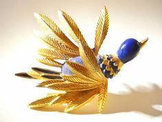 Bird Brooch St. Labre Blue Enamel Gold Vintage.