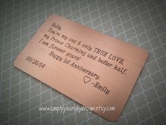 First Anniversary Gift,Anniversary Gift for Him,Men's Anniversary Gift,Wallet Card,Wallet Insert,Men's Wallet Card,Engraved Gift,Love Note