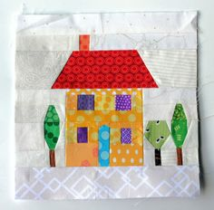 This page has links to several free paper piecing patterns, including 2 houses. Free Paper Piecing Patterns, House Quilt Patterns, House Quilt Block, Quilt Block Patterns, Pattern Blocks, Quilt Blocks, Quilting Tutorials, Quilting Projects, Foundation Paper Piecing