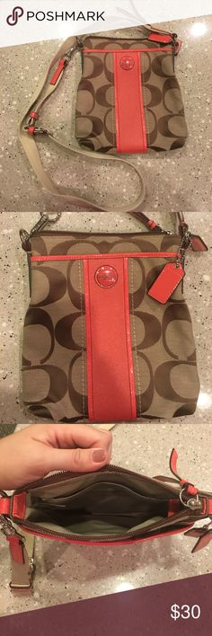 Coach Canvas Crossbody Purse Well loved but still in good condition. Slight staining on top back (seen in photo). Graphic signature fabric with leather trim and a convenient slip pocket on the side, this slender design is perfect for weekends, errands or travel. Interior pockets keep valuables organized; a zip-top closure keeps them secure. Coach Bags Crossbody Bags