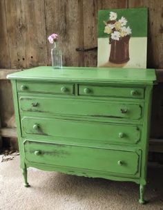 green distressed dresser