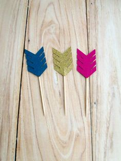 Arrow Cupcake Toppers Boho Tribal Donut Toppers by BlushHydrangeas. Arrow cupcake toppers in gold glitter and a variety of colors. Boho rustic toppers for a wild ones birthday party or baby shower. Aztec / tribal inspired party decorations.