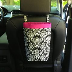 Car Trash Bag DAMASK Black and White, by GreenGoose, $30.00, car bag, car carry all, auto bag, Car organizer, #blackandwhite, #car, #damask