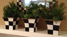 Hand Painted Black and White Herb Pots  by paintingbymichele, $20.00