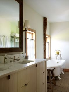 Clover Farm via Robert Stilin. Double under mount sinks. Natural wood, neutral colors, rustic