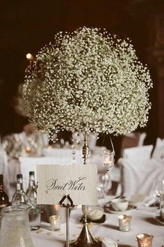 Perhaps a baby's breath bouquet for the table centrepieces, and all around.....