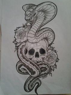 Skull with Snake Tattoo Designs - Tattoo MAG Kunst Tattoos, Neue Tattoos, Skull Tattoos, Tattoo Drawings, Sleeve Tattoos, Body Art Tattoos, Snake Sketch, Snake Drawing, Stencils Tatuagem