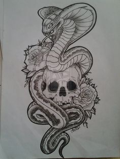 Skull with Snake Tattoo Designs
