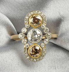 Edwardian Colored Diamond and Diamond Ring