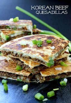 Crispy quesadillas filled with mozzarella, scallions and delicious korean beef. Perfect for dinner or appetizers!