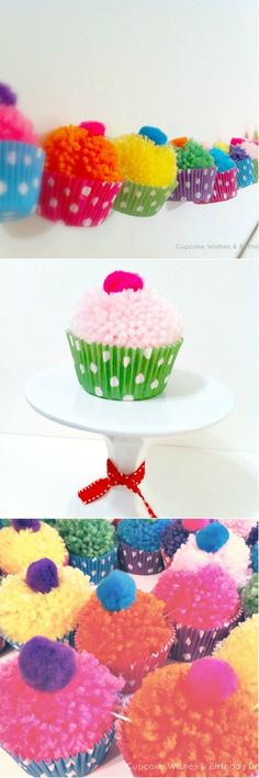 Pom poms can add great amounts of fun to any activity, but there is more to them. You can use pom poms to create amazing crafts, your kids can also participate in creating these fun crafts. Pom poms can be made at home if you don't want to buy them[. Birthday Decorations At Home, Birthday Crafts, Birthday Kids, Cake Birthday, Birthday Wishes, Crafts For Kids To Make, Diy And Crafts, Arts And Crafts, Kids Diy