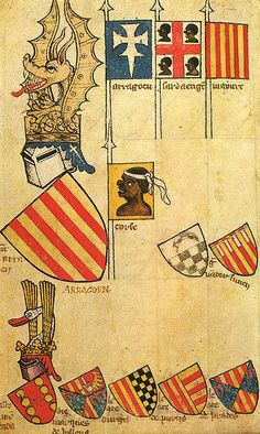 """Coat of Arms for the Kingdom of Aragon made between 1370-1440 A.D. It commemorates the four Moorish Kings killed in battle by Pedro VIII in 1096. Readers should note that the word """"Moor"""" or """"Moorish"""" """"Blackamoor"""" does not mean a African Muslim, because in early European history all Africans were referred to as """"Moors"""". Also, the word """"African"""" was not used in ancient times, so Black People were usually referred to as """"Ethiopians"""", Libyans, etc."""