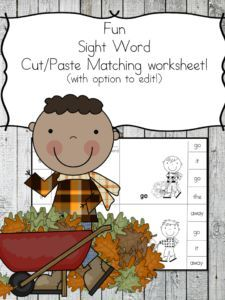 Fun fall sight word worksheet with the option to edit the worksheet (in a growing bundle!) Fun cut and paste sight word worksheet! Educational Activities For Toddlers, Autumn Activities For Kids, Fun Activities, Preschool Themes, Reading Activities, Sight Word Worksheets, Kindergarten Math Worksheets, Free Worksheets, 1st Grade Writing Prompts