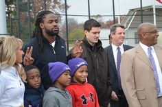 Torrey Smith of the Baltimore Ravens at the Patterson Park Youth Sports Complex Opening