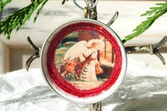 Recycled Christmas Resin Ornament  Christmas by KrissArtCreation, $7.50
