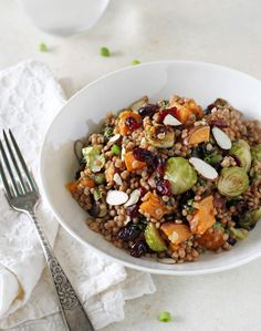 Brussels Sprouts and Sweet Potato Israeli Couscous Salad