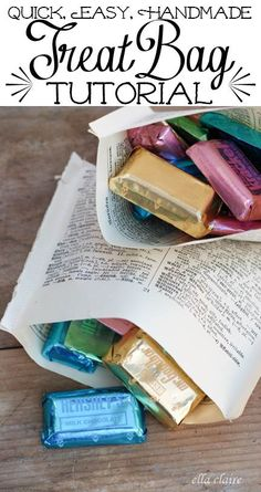 Book Page Treat Bags: A Party Tutorial by Ella Claire