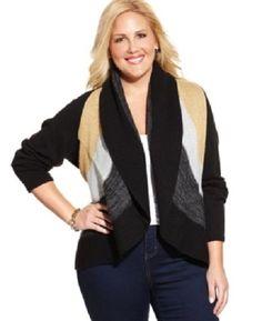 Charter Club Metallic Open Knit Sweater Plus Size 2X BLACK $79.50 - NEW w/ TAGS #CharterClub #Cardigan