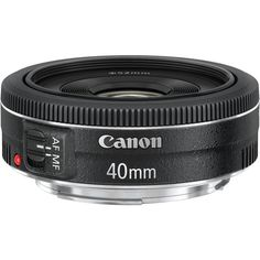 Canon EF 40mm f/2.8 STM Pancake Lens. Feather-light at 4.6 oz, and less than 1 inch long. I want this!