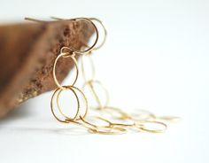 Lihau earrings  gold dangle earrings gold hoop by kealohajewelry, $28.00
