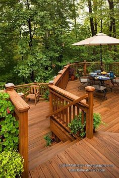 wooden deck surrounded by green