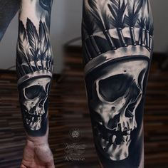 Native American skull tattoo by Alex Pancho with KWADRON