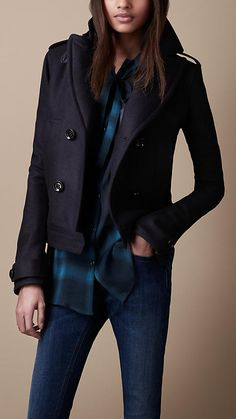 Cropped Wool Blend Pea Coat | Burberry