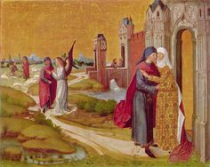 The Meeting at the Golden Gate (from Life of the Virgin for the Ursulakirche, Cologne) Master of the Life of the Virgin - circa 1460 Owner/Location:Alte Pinakothek - Bayerische Staatsgemäldesammlungen  (Germany - Munich)      Dates:circa 1460 Dimensions:Height: 85 cm (33.46 in.), Width: 106 cm (41.73 in.) Medium:Painting - oil on panel