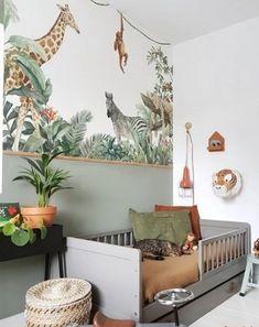 Jungle Baby Room, Safari Room, Jungle Bedroom, Baby Bedroom, Baby Boy Rooms, Kids Bedroom, Cama Ikea Kura, Baby Room Design, Toddler Rooms