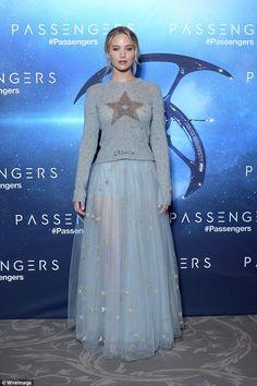 Jennifer Lawrence in Dior Spring 2017 fora Passengers photocall inside Hotel George V, Paris, on November 29, 2016
