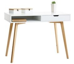Desk Tamholt white/oak from Jysk White Writing Desk, Wooden Projects, Wooden Desk, Ikea Furniture, Home Office Desks, My New Room, White Oak, Home Bedroom, Interior Design