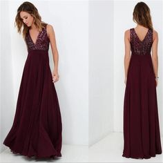 Maroon V-neck Sleeveless Long A-Line Sequin Top Chiffon Prom Dresses, WD0222