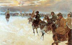 La retirada de Moscú, resulta evocadora la imagen de la Esfinge en las nubes, recordando las glorias pasadas desde la campaña de Egipto... sic transit gloria! Más en www.elgrancapitan.org/foro