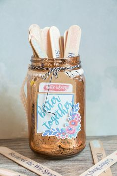 Can't decide on what to do together on a Saturday night? Let me show you how to solve that problem with this adorable date night jar. All you have to do is decide on what type of date, and then pick that coordinating colored stick from the jar. Keep it fun; don't peek! …