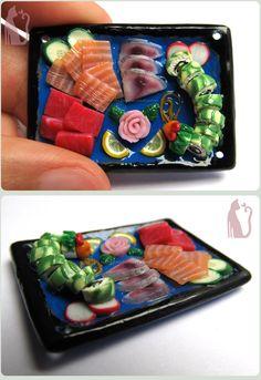 Polymer Clay Sashimi Tray and Dragon Roll by Talty.deviantart.com on @deviantART