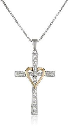 "XPY Sterling Silver and 14k Yellow Gold Diamond Cross My Heart Pendant Necklace (.08cttw, I-J Color, I3 Clarity), 18"" Amazon Curated Collection http://smile.amazon.com/dp/B003YDYWPE/ref=cm_sw_r_pi_dp_qaOiub07R5T3D"