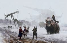 """The Polish artist Jakub Rozalski, who goes by the sobriquet """"Mr. Werewolf,"""" has produced an amusing series of steampunk-ish canvases in which serene and idyllic rustic landscapes of what seem to be Eastern Europe (Rozalski's very back yard, you might say) in the early decades of the 20th century fea"""