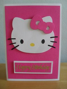 Check it Out! Simple Birthday Cards, Girl Birthday Cards, Bday Cards, Pink Hello Kitty, Hello Kitty Birthday, Tarjetas Diy, Karten Diy, Shaped Cards, Cricut Cards